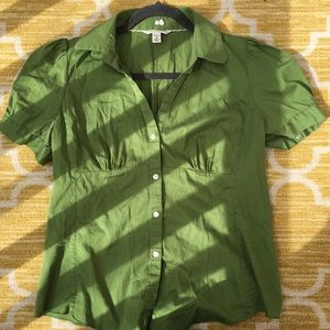 Green button-down top